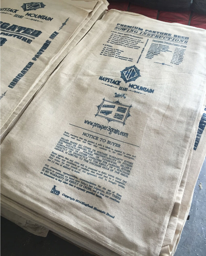 Irrigated Pasture Mix cotton bags