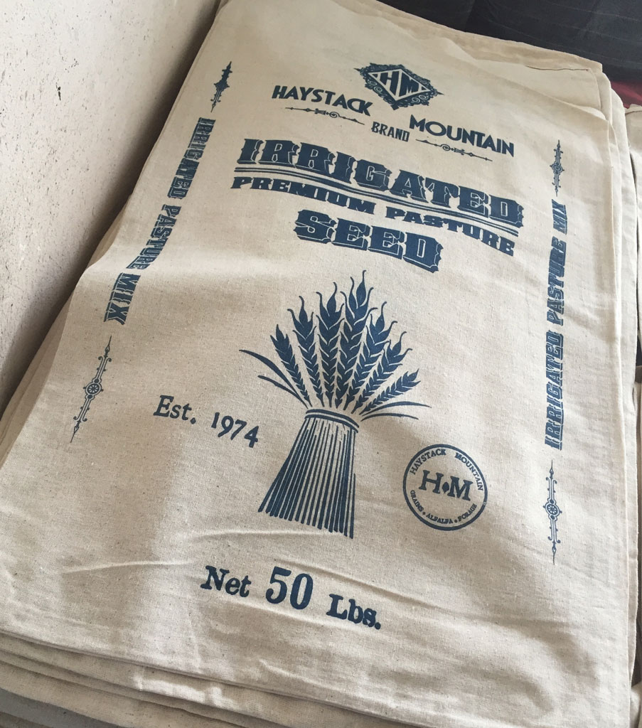 Irrigated Pasture Mix Vintage Style Cotton Seed Bag