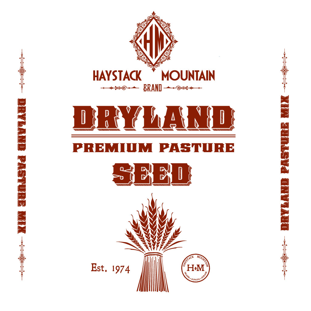 graphic design of our custom cotton dryland pasture seed mix bag